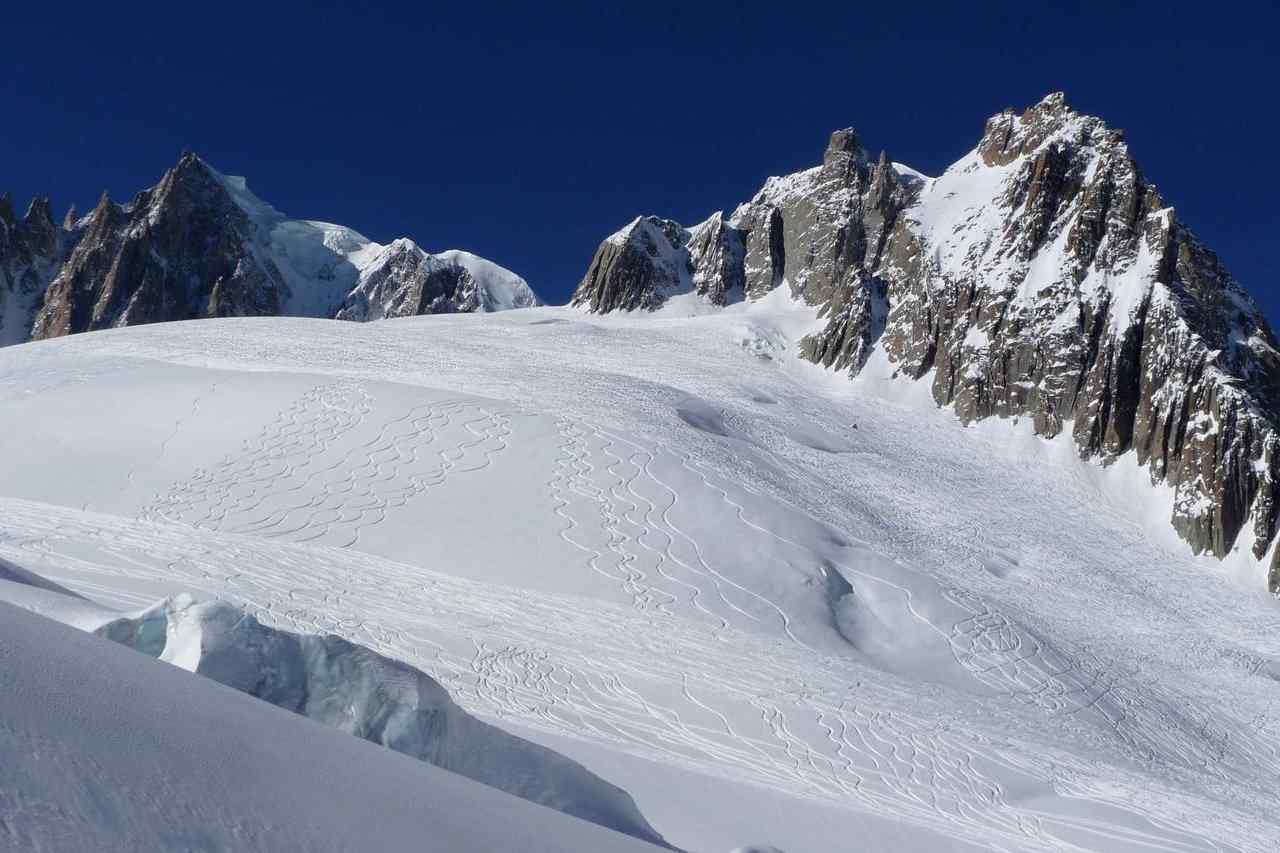 Descente de la Vallée Blanche à skis